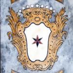 Balaustra altare laterale dex . Particolare dello stemma marmoreo con corona comitale della Famiglia Celebrini della Predosa .