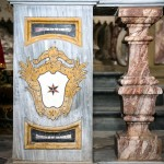 Pilastrini in marmo della Balaustra altare laterale six : particolare dello stemma della Famiglia Celebrini di Cornegliano