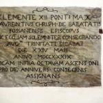 Lapide commemorativa consacrazione della Chiesa il 24 Maggio 1739 dal Vescovo Mons. Cristoforo Baratà