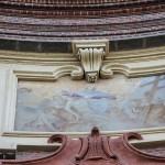 PARTICOLARE DELL ' AFFRESCO DELLA  S.S. TRINITA' IN FACCIATA DELLA CHIESA ( sopra la finestra a conchiglia) - Luigi Gambera da Fossano - 1736 .